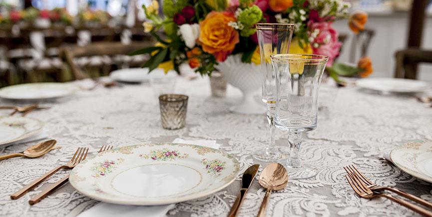 antique wedding reception setup