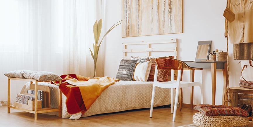 Bedroom in sandy colors