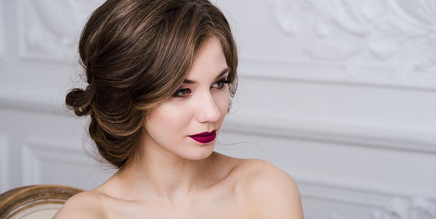 brunette bride portrait fashion model on luxury interior background