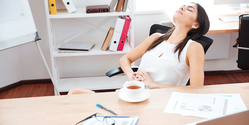 Businesswoman relaxing in office