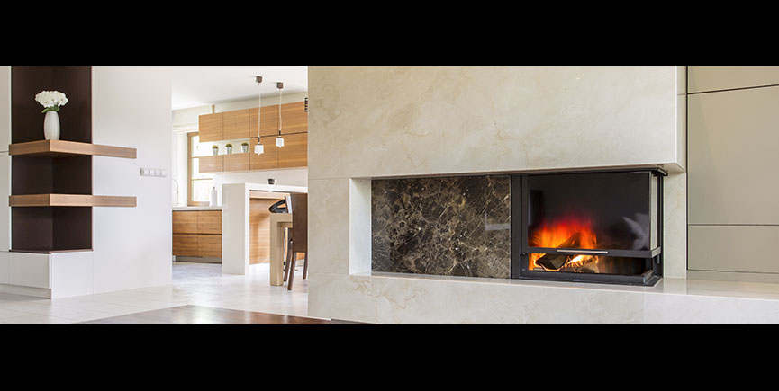 Cozy interior with burning fireplace