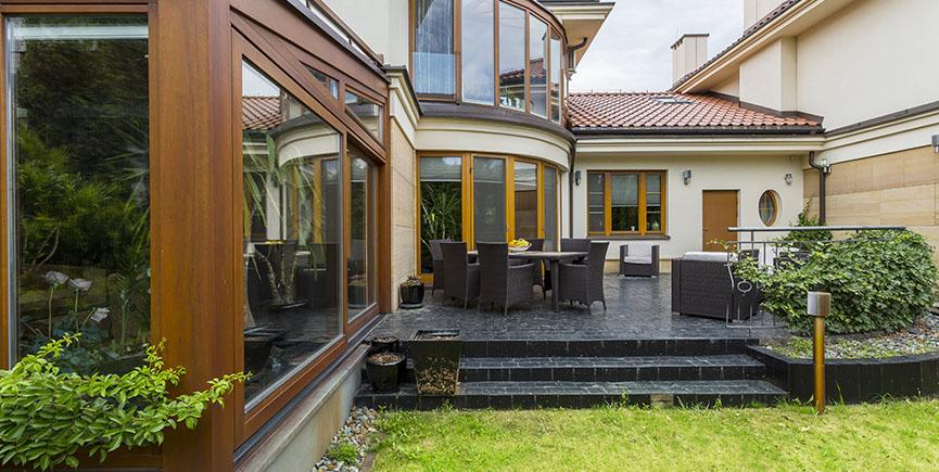 Elegant villa terrace with garden furniture