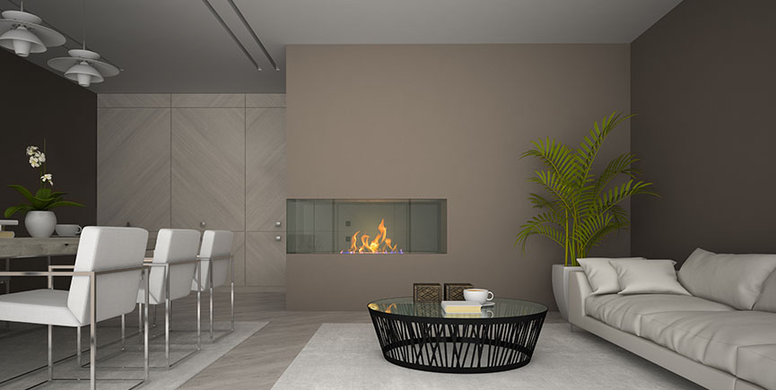 Interior of modern room with fireplace and palm 3D rendering
