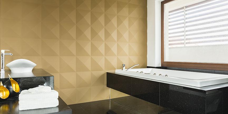 Luxuriosu bathroom with 3d wall