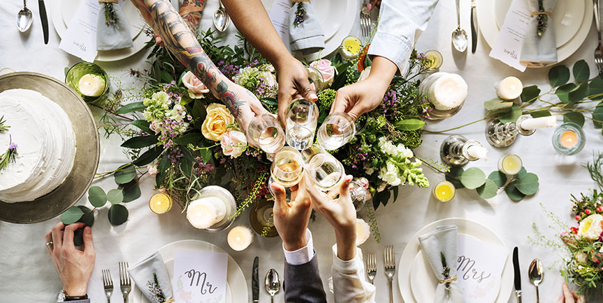 People Cling Wine Glasses on Wedding Reception with Bride and Gr