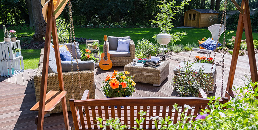 Spacious terrace with garden swing