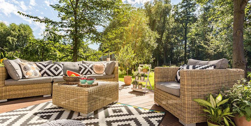 Sunny terrace in big garden