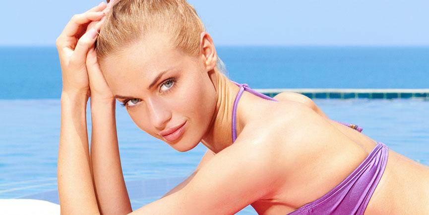 Taking sunbath in bikini